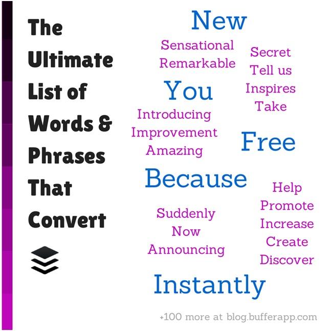 la lista finale delle parole che convertono