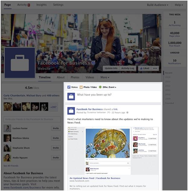 nuovo layout facebook aziende