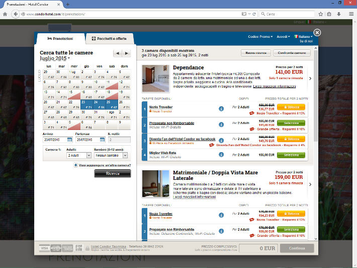 Hotel Condor - Booking engine NOZIO v2