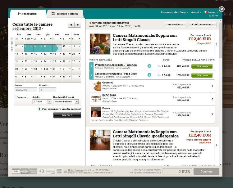 Hotel Cavour Milano - Booking Engine NOZIO v2