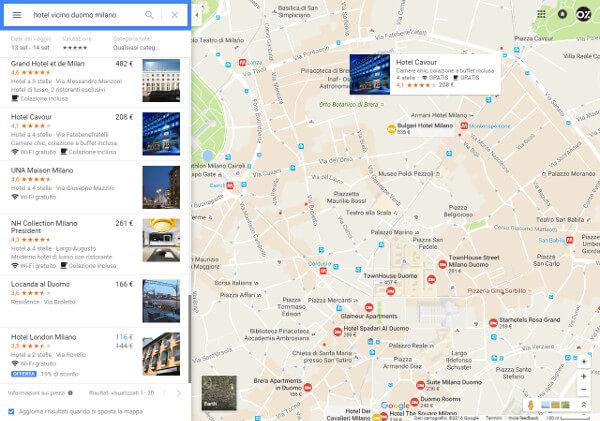 Ricerca Hotel su Google Maps